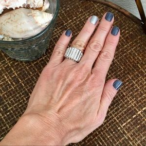 NWOT Faux Diamond Stainless Steel Ring Size 4
